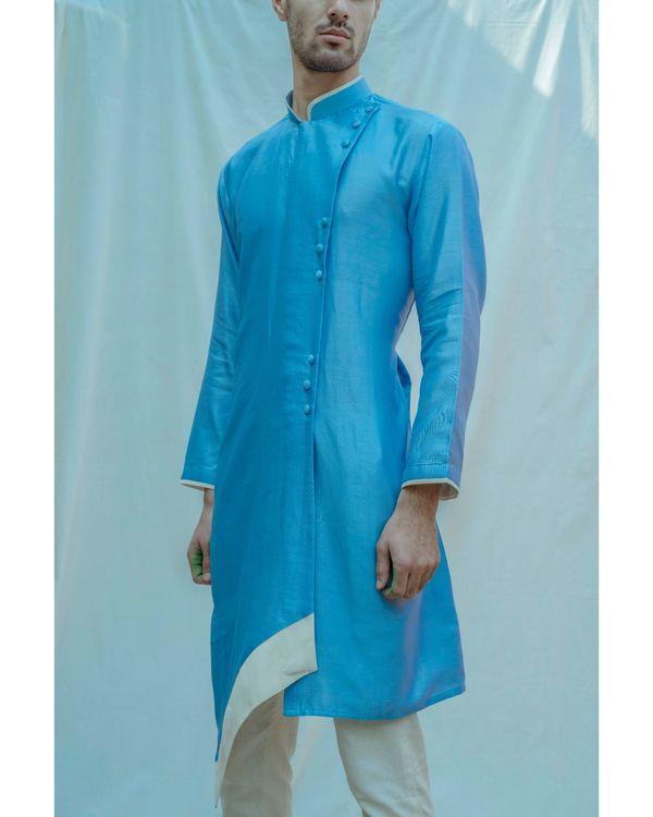 Blue paneled chanderi silk kurta with off white pants - Set Of Two 1