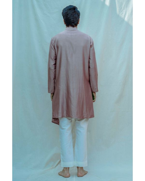 Mauve chanderi silk kurta with off white pants - Set Of Two 2
