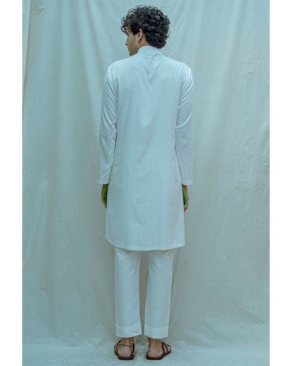 White paneled cowl kurta with pants - Set Of Two 2