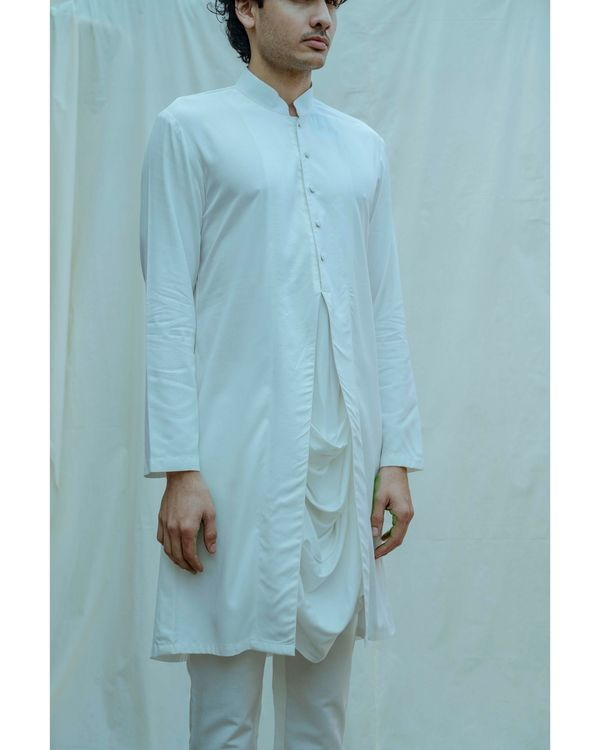 White paneled cowl kurta with pants - Set Of Two 1