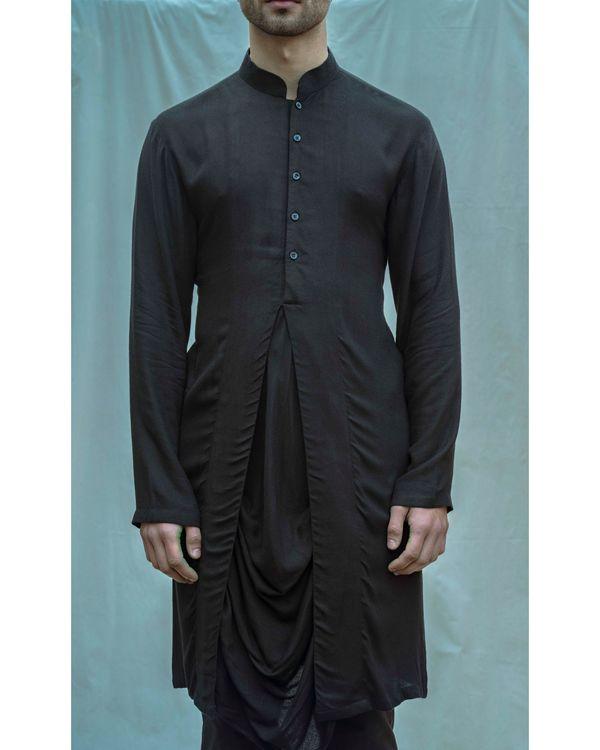 Black paneled cowl kurta with pants - Set Of Two 1