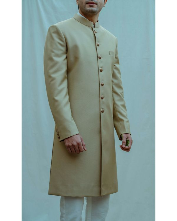 Beige textured achkan with white kurta and pants - Set Of Three 1