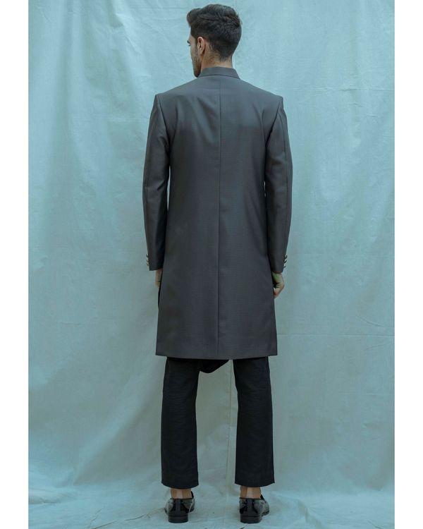 Dark grey achkan with black cowl kurta and pants - Set Of Three 2