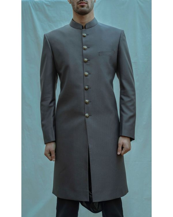 Dark grey achkan with black cowl kurta and pants - Set Of Three 1