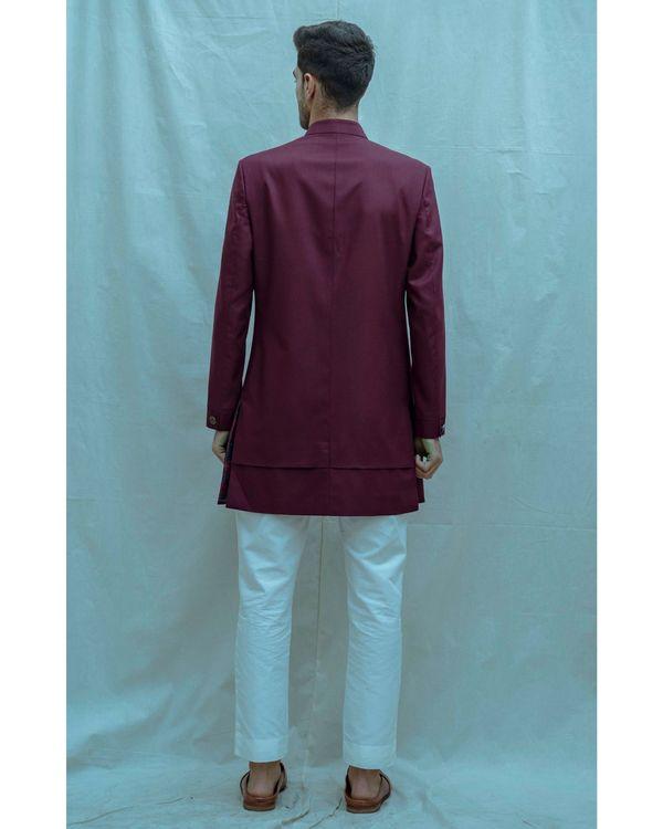 Wine hued achkan and white kurta with pants - Set Of Three 2