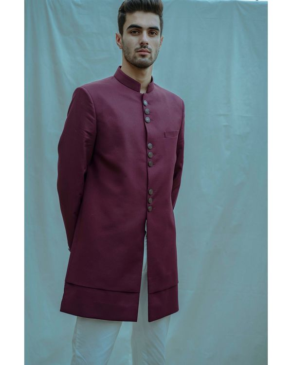 Wine hued achkan and white kurta with pants - Set Of Three 1
