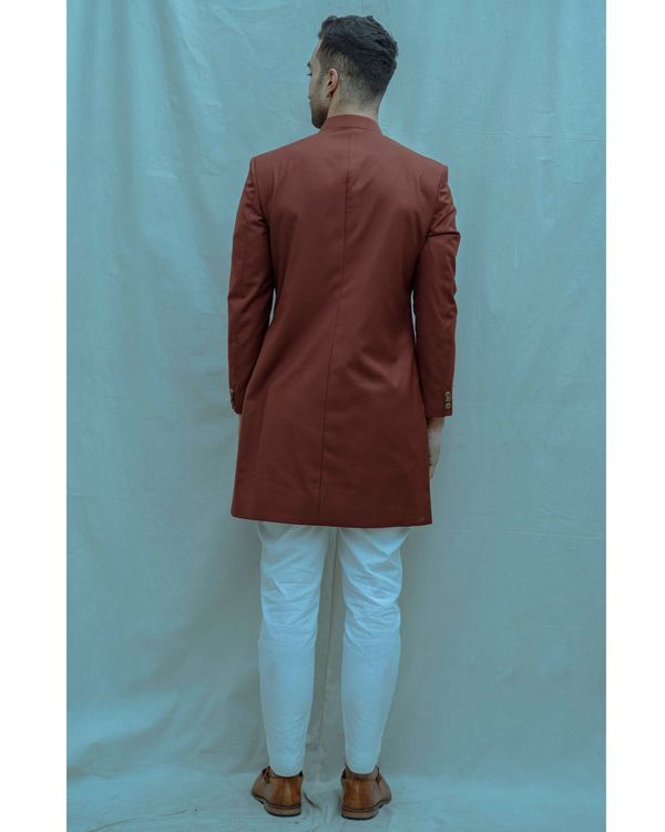 Rust hued achkan and white kurta with pants - Set Of Three 2