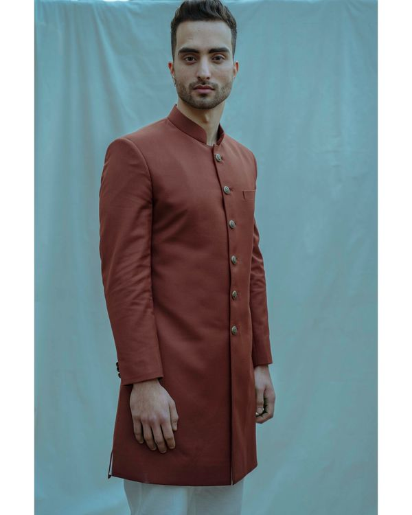Rust hued achkan and white kurta with pants - Set Of Three 1