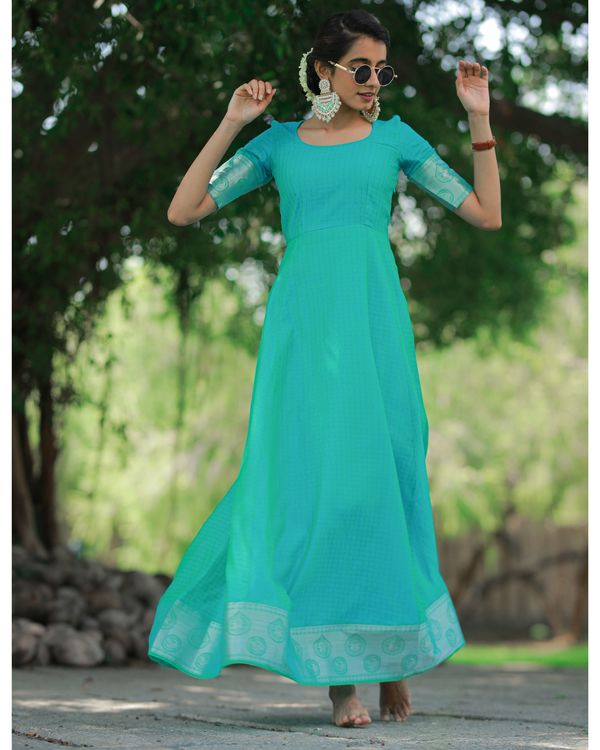 Turquoise checkered maxi dress 1