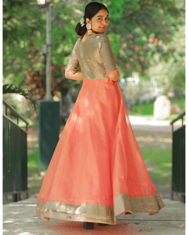 Peach and brown flared yoke maxi dress 3