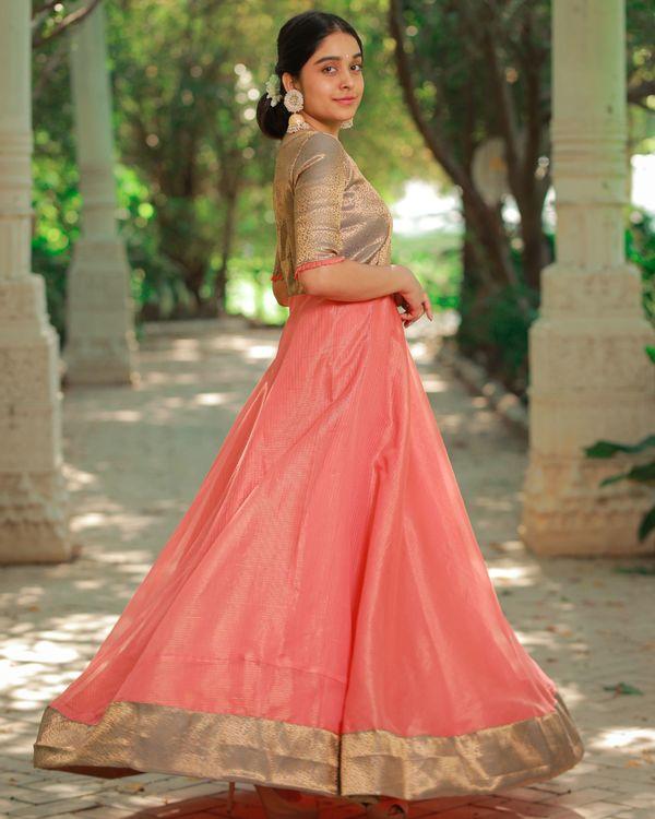 Peach and brown flared yoke maxi dress 2