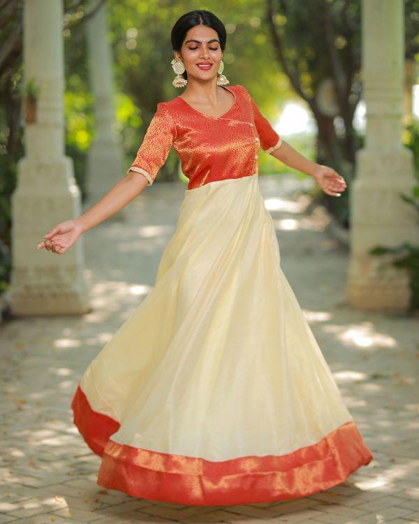 Off white and orange flared yoke maxi dress 3