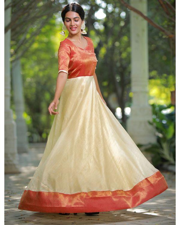 Off white and orange flared yoke maxi dress 2