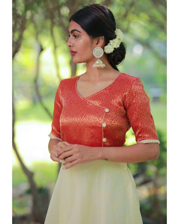 Off white and orange flared yoke maxi dress 1
