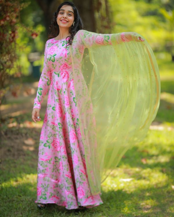 Pastel pink and green floral maxi dress with embroidered dupatta - Set Of Two 3