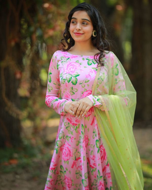 Pastel pink and green floral maxi dress with embroidered dupatta - Set Of Two 1