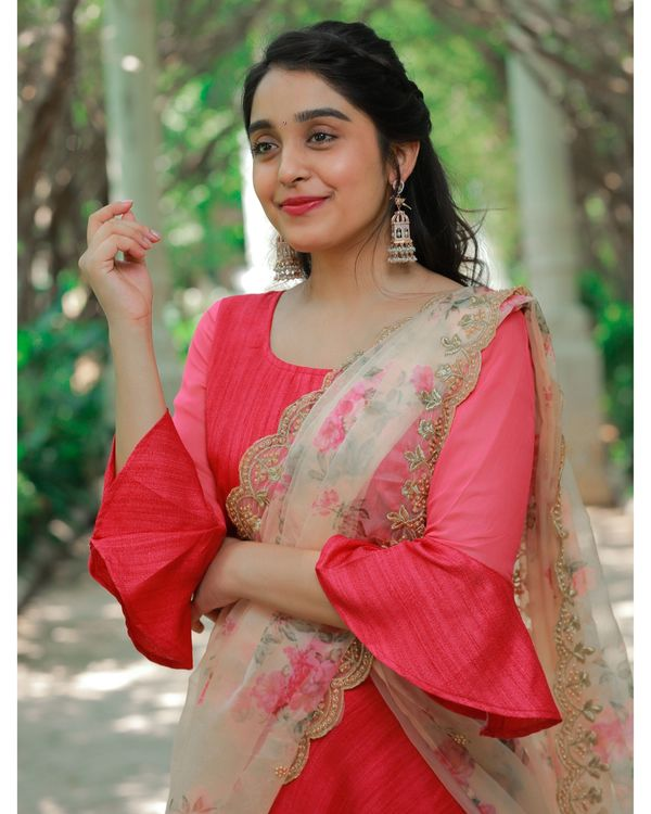 Red bell sleeve crop top and skirt with embroidered dupatta - Set Of Three 1