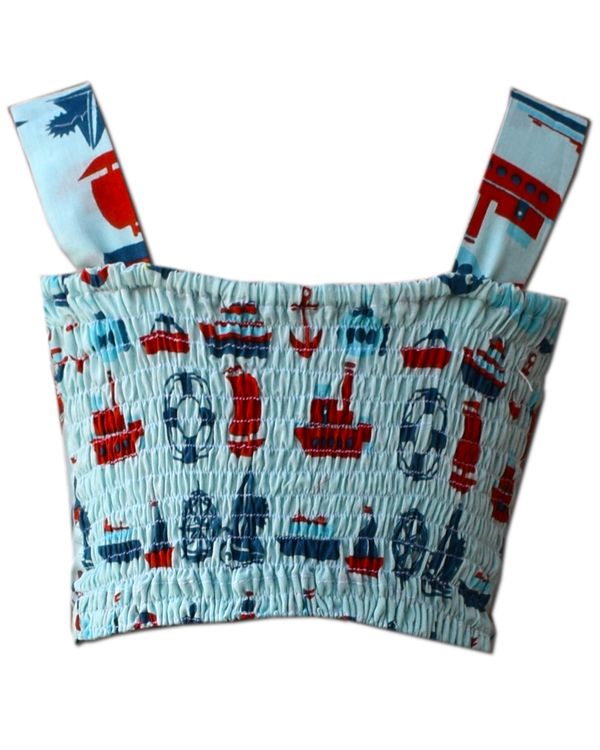 Light blue ship printed crop top and skirt with red ruffled shrug - Set Of Three 2