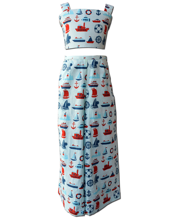 Light blue ship printed crop top and skirt with red ruffled shrug - Set Of Three 1