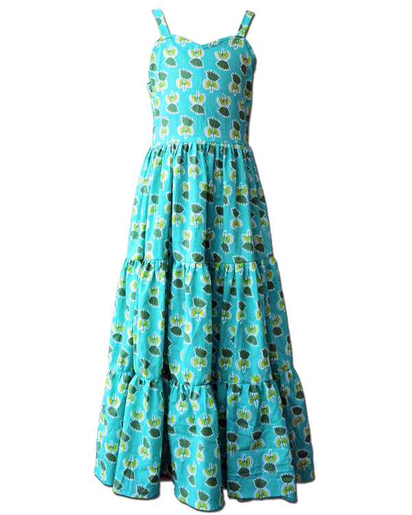 Sea green floral printed tiered dress with asymmetrical shrug - Set Of Two 1