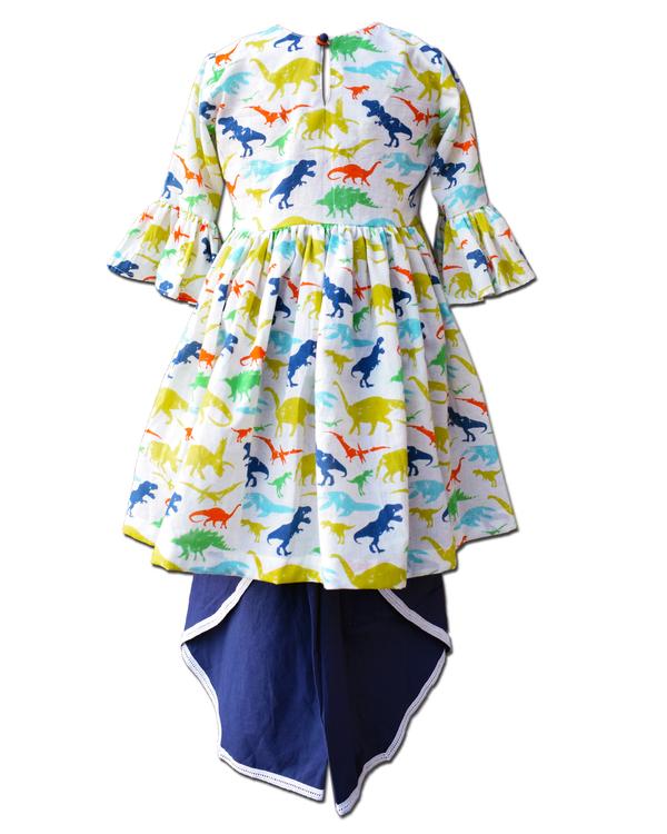 Dinosaur printed ruffled dress with blue dhoti pants - Set Of Two 1