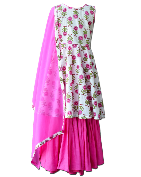 White and pink floral printed yoke dress and sharara with dupatta - Set Of Three 2