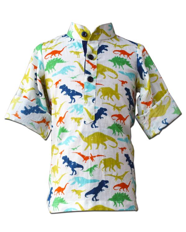 Dinosaur printed mandarin shirt 1