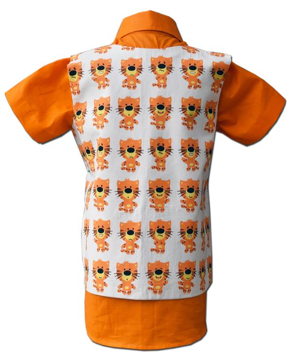 Orange lion printed waist coat with half sleeve shirt - Set Of Two 2