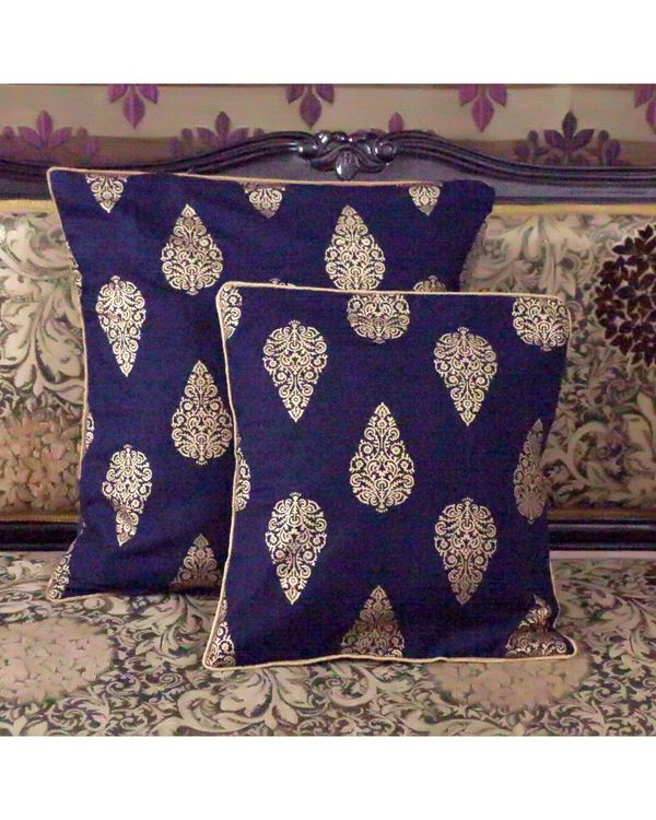 Blue buti printed cushion covers (small) - Set Of Four 2