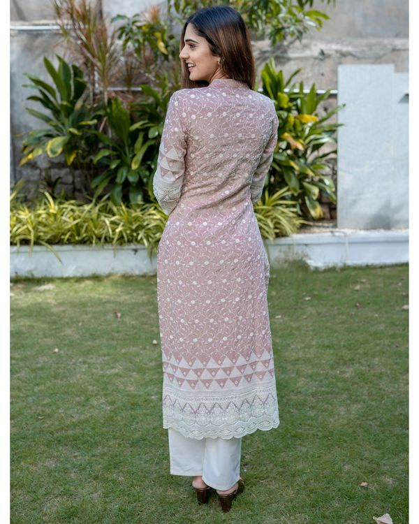 Dusty lavender embroidered kurta with lace detailing and pants - Set Of Two 3