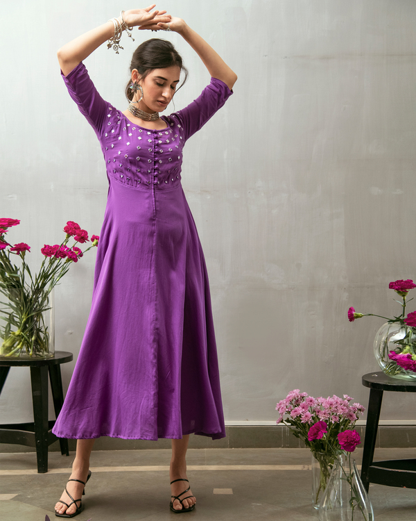 Purple mirror embroidered buttoned dress 3