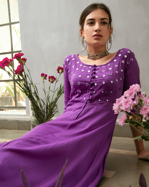 Purple mirror embroidered buttoned dress 2