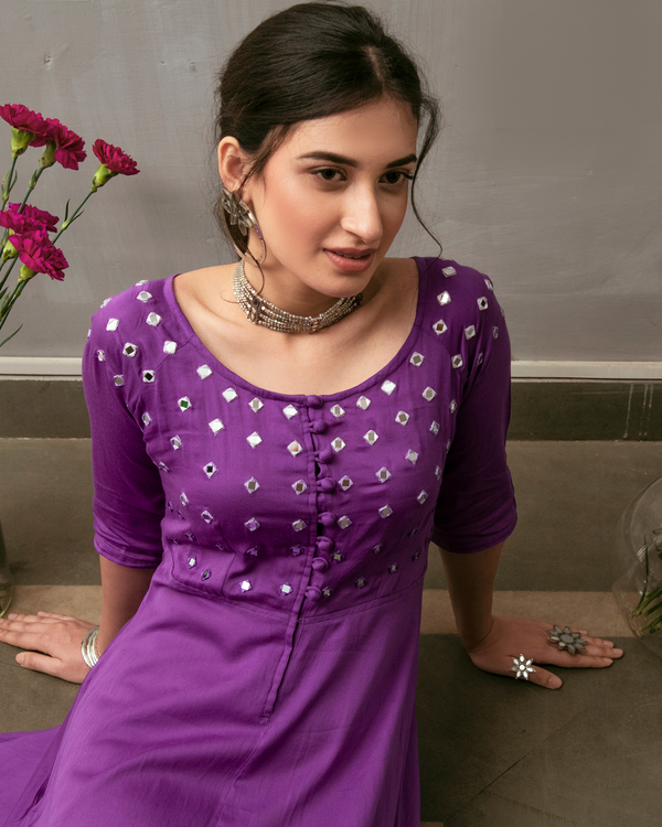 Purple mirror embroidered buttoned dress 1