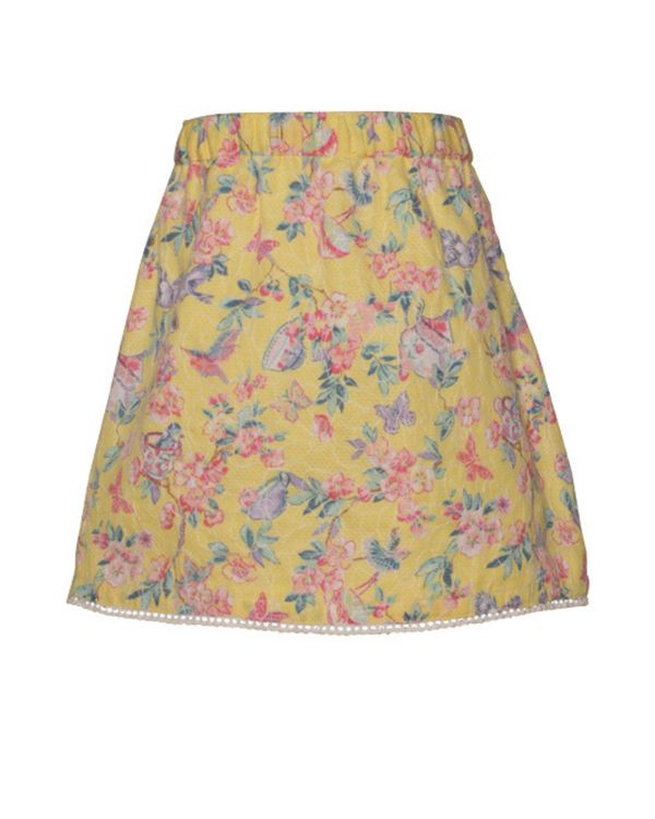 Yellow floral printed surf skirt 2