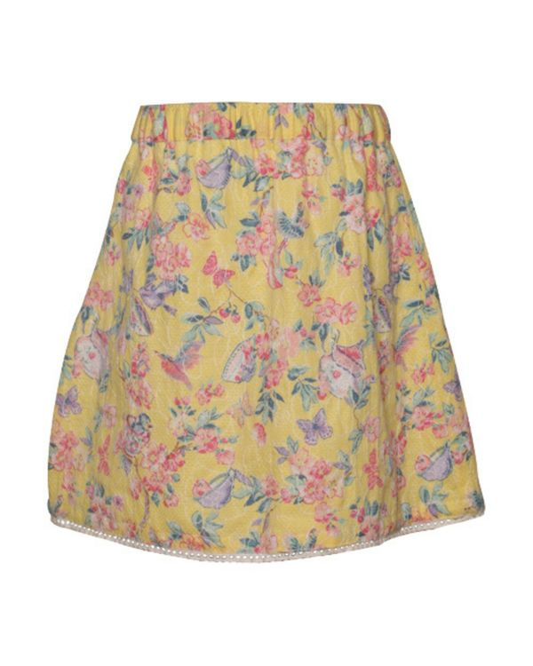 Yellow floral printed surf skirt 1