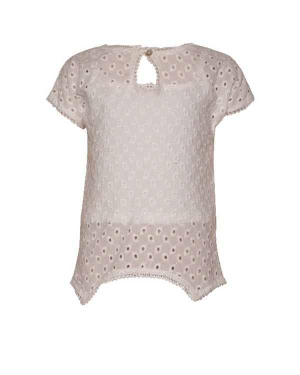 White cutwork blossom top with crop spaghetti - Set Of Two 2
