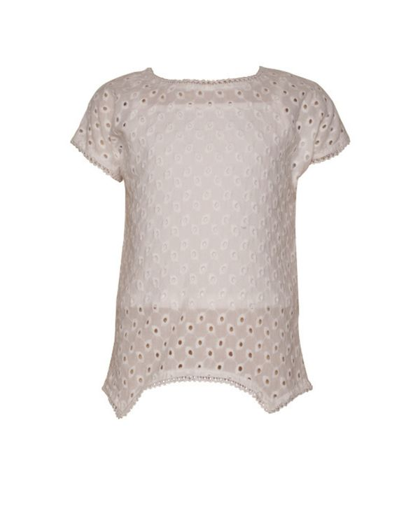 White cutwork blossom top with crop spaghetti - Set Of Two 1