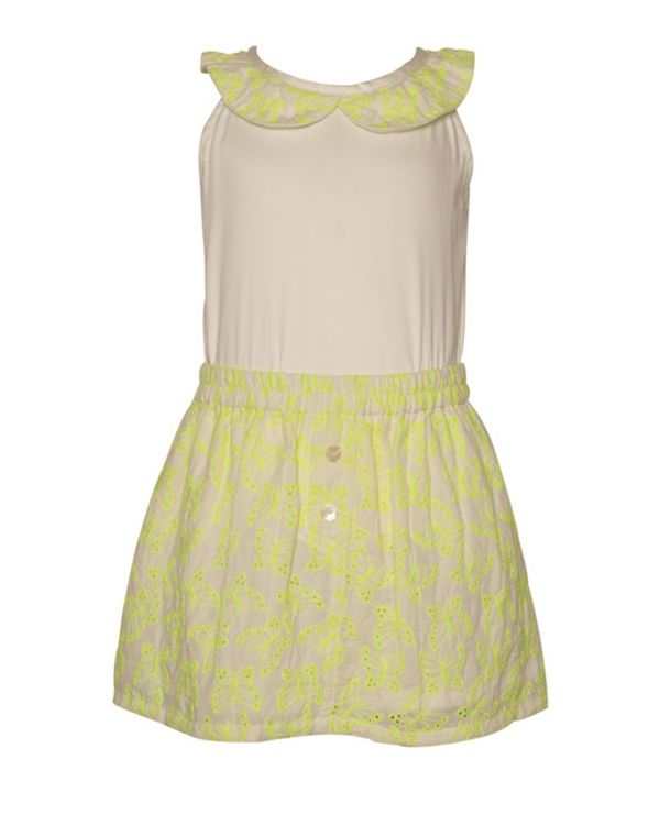 Yellow butterfly embroidered top and skirt - Set Of Two 1