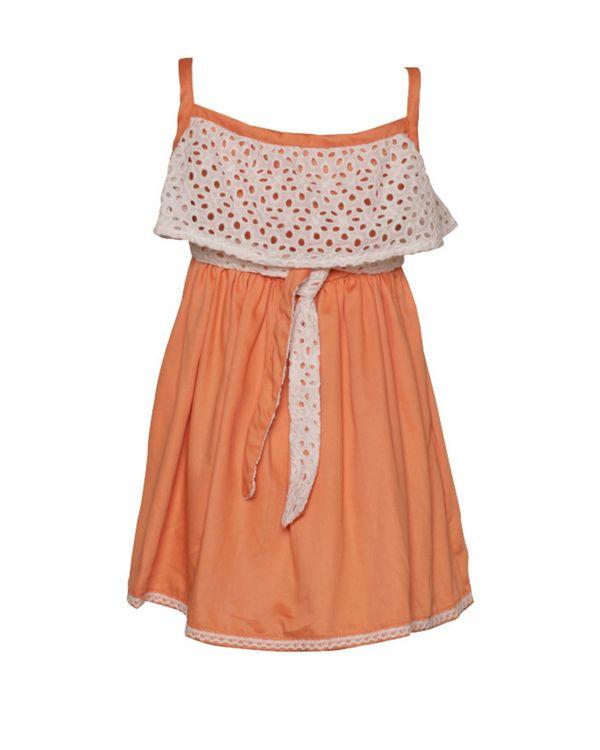Peach cutwork strap dress 1