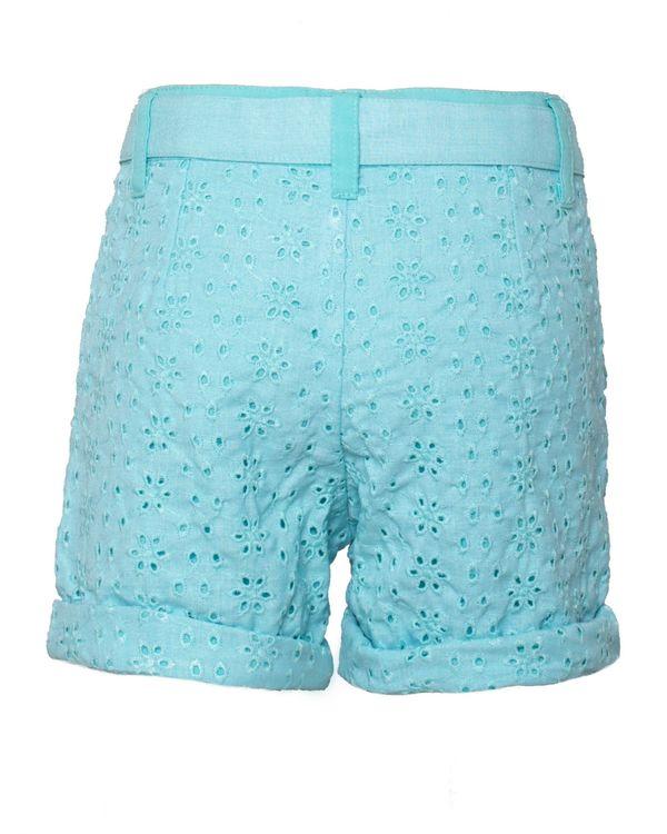 Aqua blue floral cutwork shorts 1