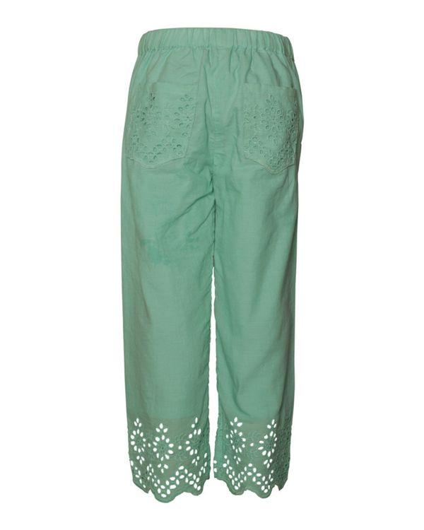 Light turquoise cutwork boho pants 2