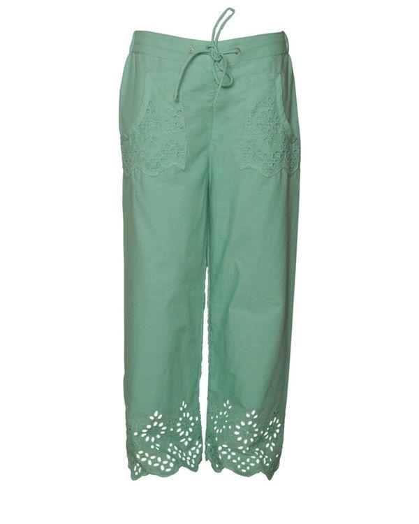 Light turquoise cutwork boho pants 1