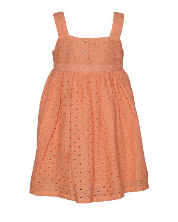 Peach gathered cutwork strap dress 1