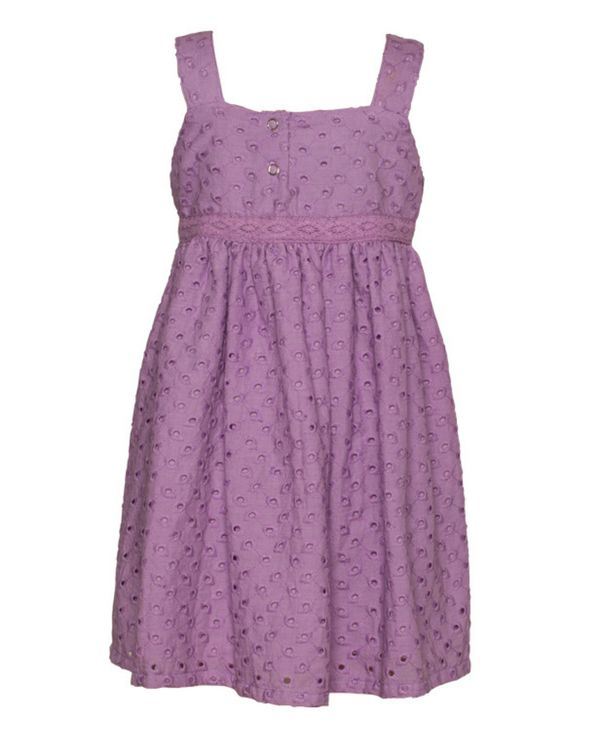 Lavender gathered cutwork strap dress 1
