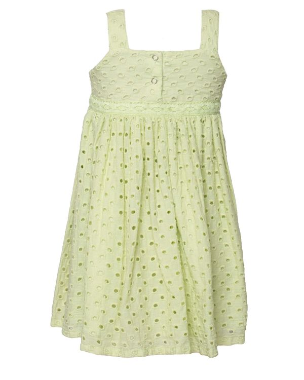 Green gathered cutwork strap dress 1