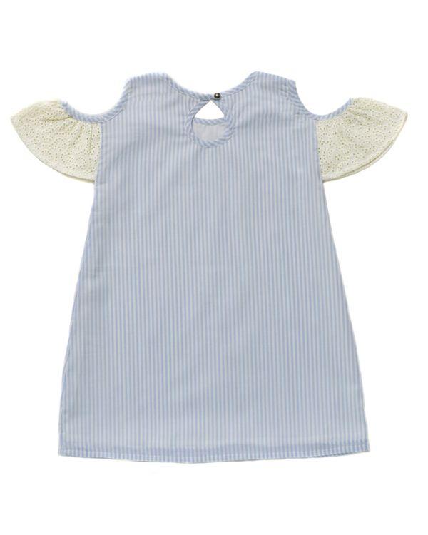 Blue striped cold shoulder dress 2