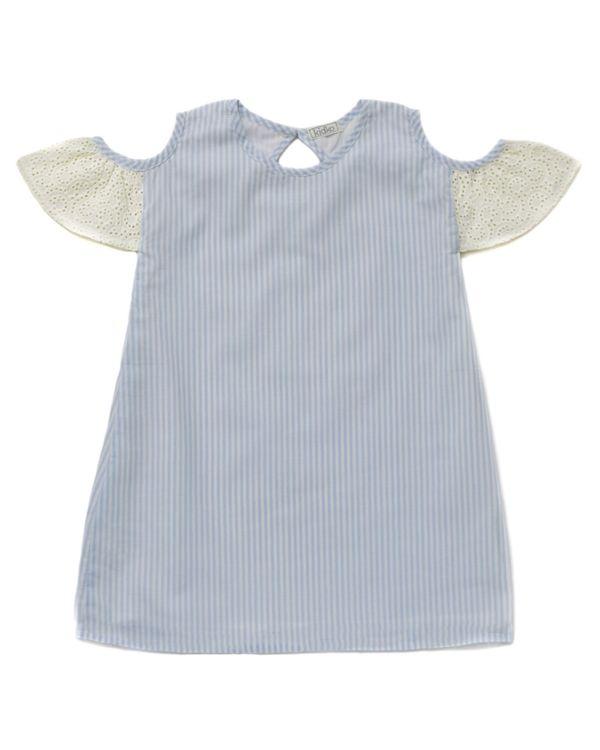 Blue striped cold shoulder dress 1