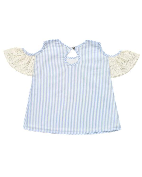 Blue striped cold shoulder top 2