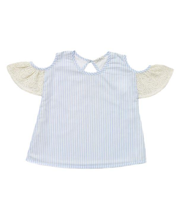 Blue striped cold shoulder top 1