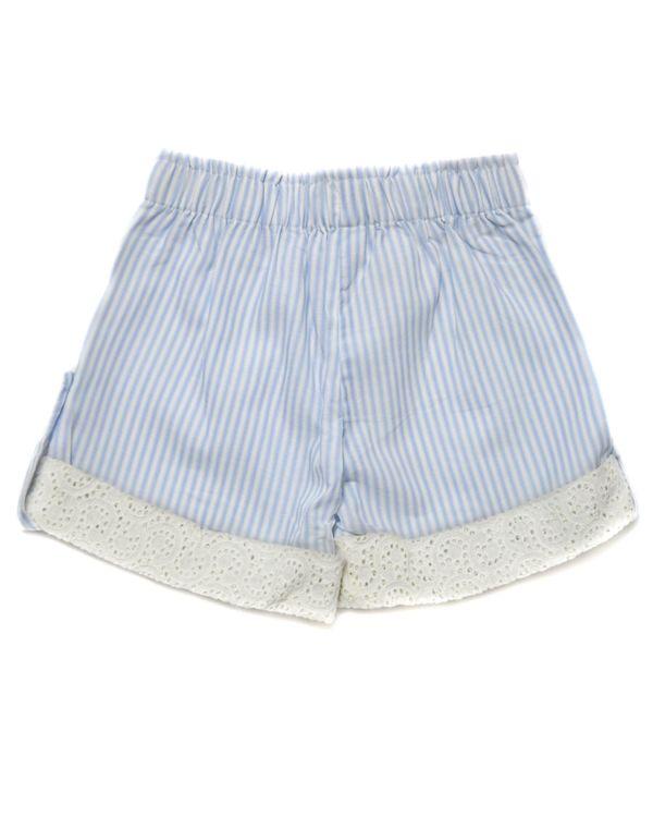 Blue striped cutwork folded shorts 2
